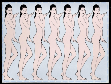 John Wesley. String of Girls, 1989.Oil on canvas, 127 x 176 cm.Courtesy of the artist & PKM Trinity Gallery.