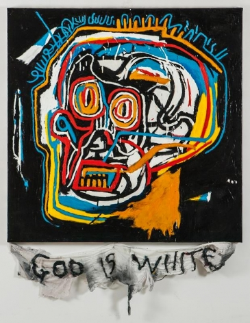 Cody Choi. Episteme Sabotage - God Is White, 2014. Oil on canvas, cloth, thread, 132 x 100 cm. Courtesy of the artist and PKM Gallery.