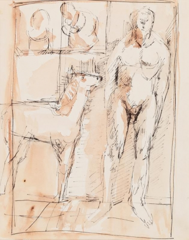Kwon Jin Kyu. Scene with a Horse and a Figure, 1956-57. Watercolor and ink on paper, 28.3(h) x 22.5 cm. Private Collection. Courtesy of Kwon Jin Kyu Commemoration Foundation & PKM Gallery.