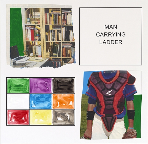John Baldessari. Storyboard (In 4 Parts): Man Carrying Ladder, 2013. Varnished inkjet print on canvas with acrylic and oil paint, 191.8 x 196.9 cm. Courtesy Marian Goodman Gallery, New York.