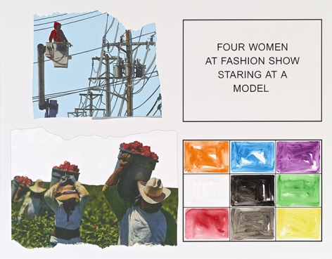 John Baldessari. Storyboard (In 4 Parts): Four Woman At Fashion Show Staring At A Model, 2013. Varnished inkjet print on canvas with acrylic and oil paint, 193 x 246.7 cm. Courtesy Marian Goodman Gallery, New York.