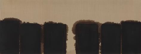 Yun Hyong-keun. Burnt Umber & Ultramarine '91-#86, 1991, Oil on linen, 80 x 208 cm. Courtesy of PKM Gallery.
