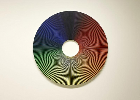 Olafur Eliasson. Colour experiment no. 5 (180 colours with black), 2009. Oil on canvas, 180 diameter. Courtesy of the artist & PKM Trinity Gallery. © 2009 Olafur Eliasson.