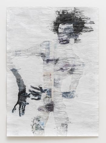 Gabriel Vormstein. Outre II,2018,Pencil, watercolor, wallpaint on newspaper,157 x 110.5 cm.Courtesy of the artist, Meyer Riegger, Berlin/Karlsruhe, and PKM Gallery, Seoul.