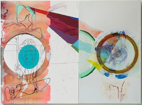 Young Do Jeong, Moving Target, 2010. Oil, enamel, acrylic, ink, spray paint, oil stick, and wood construction on canvas and panel, 103 x 137 cm. Courtesy of the artist and PKM Gallery.