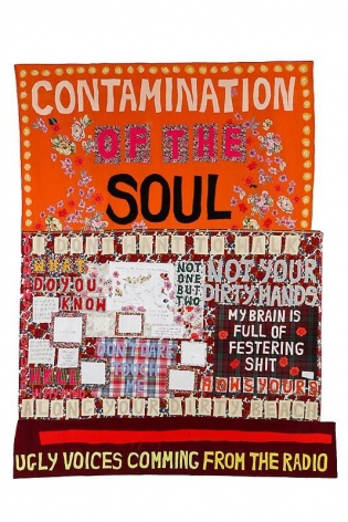 Tracey Emin. Contamination of the Soul, 2008.Appliquéd blanket, 250.5 x 199 cm.Courtesy of the artist & PKM Gallery.