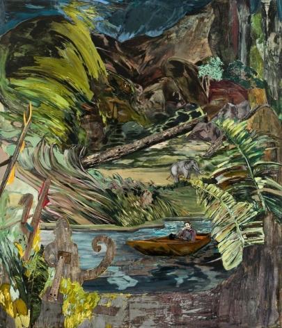 Hernan Bas. A brief suspension of disbelief (amusement park jungle cruise), 2012.Acrylic, silkscreen and block print on linen, 213.4 x 182.9 cm. Courtesy of the artist & PKM Trinity Gallery.