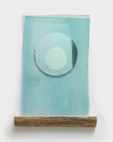 Olafur Eliasson. Submergence mirror, 2017. Coloured glass (light blue), coloured glacial-rock-flour glass (light green), silver, driftwood, 105.5 x 75 x 12 cm. Courtesy of the Artist & PKM Gallery.