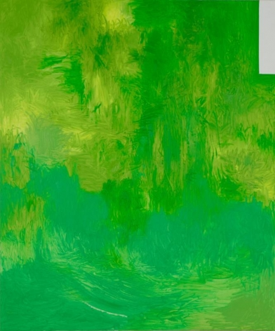Hyunjin Bek. Green Field, 2015. Oil, colored pencil on canvas, 180 x 150 cm. Courtesy of the Artist & PKM Gallery.