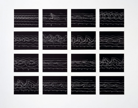 Olafur Eliasson. Pedestrian vibes study (Ed. 18), 2004. 16 black and white photogravure, Each image 35 x 45.8 cm, overall approx. 145 x 18 5cm.Courtesy of the artist & PKM Gallery.