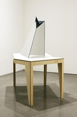 Olafur Eliasson. Glacier table, 2009. Wood, mirror, coloured glass (blue, green, transparent). Courtesy of the artist & PKM Trinity Gallery. © 2009 Olafur Eliasson.
