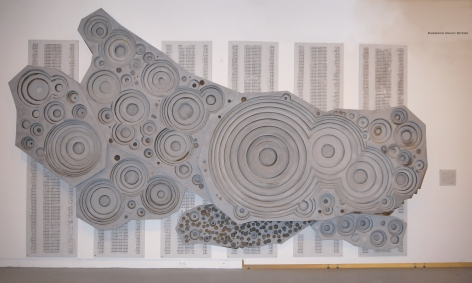 EMERSON MYERS #Inches(100 Kilotons)(#Layers)=YIELD 2014, polished and rusted iron, paint, ash, and charcoal on wood, 174 x 108 inches.
