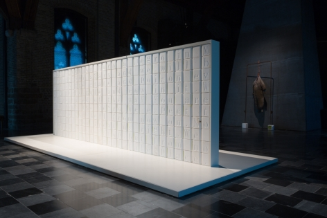 WILMER WILSON IV Installation view: Fire Bill's Spook Kit, In Flanders Fields Museum, Ieper, Belgium salt blocks, aluminum, wood, 8 x 20 x 6.25 feet