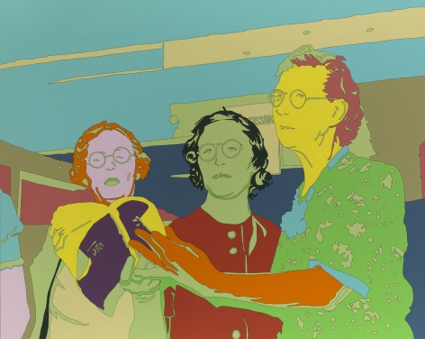"LISA RUYTER Russell Lee ""Three members of ladies' quintette at community sing, Pie Town, New Mexico"" 2011, acrylic on canvas, 63 x 79 inches"