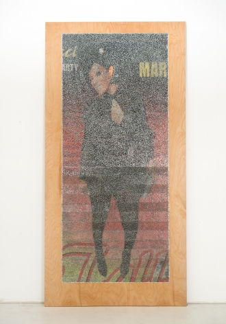 Wilmer Wilson IV MAR 2017, staples and pigment print on wood, 96 x 48 x 1.5 inches