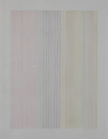 Gene Davis  Untitled  1973, colored pencil on gray bond paper, 25.5 x 19.75 inches.