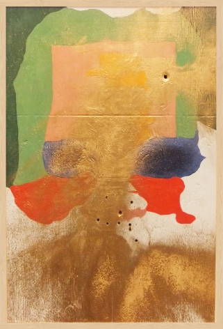SAMUEL SCHARF + RYAN CARR JOHNSON Frankenthaler A.D. 2012, paint on plywood with bullet holes, 37 x 25 x 2.5 inches.