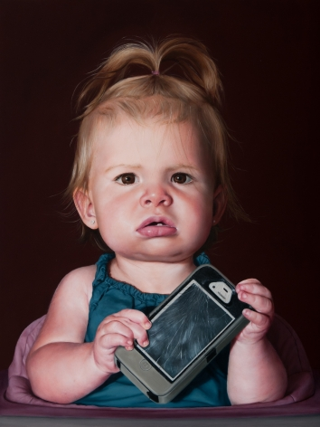 KATIE MILLER Baby with a Dead Phone  2014, oil on panel, 16 x 12 inches.