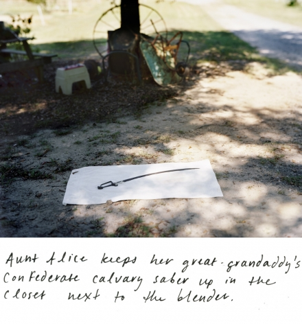 AARON CANIPE J.V. Ozmint's Confederate Calvary Saber, near Iva, South Carolina 2011, archival inkjet print with hand-applied text, 11 x 14 inches
