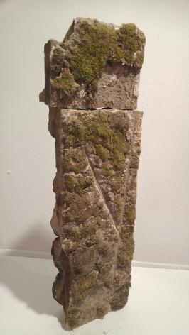 ANDREJ R WITKOWSKI Etrah II 2018, limestone and moss, 36 x 10.5 x 4 inches
