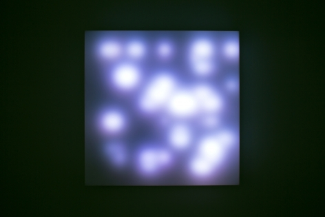 LEO VILLAREAL Invisible Hand 2012, light emitting diodes, mac mini, custom software, circuitry, wood, plexiglas, 34 x 34 x 6 inches
