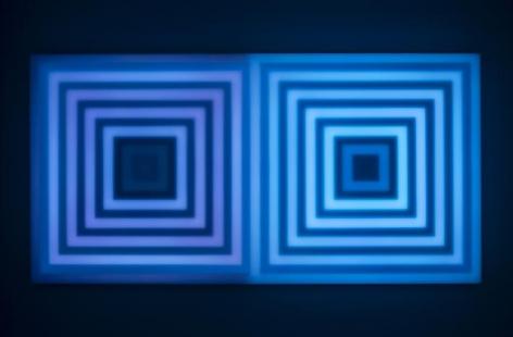 LEO VILLAREAL  Double Scramble 2  2014, light emitting diodes, computer, custom software, circuitry, wood, plexiglas, 37.5 x 73.5 x 3.75 inches