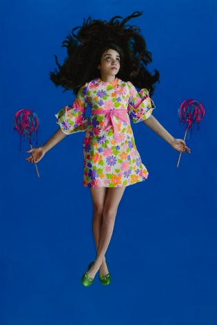 KATIE MILLER Girl on Blue 2010, oil on panel, 72 x 48 inches