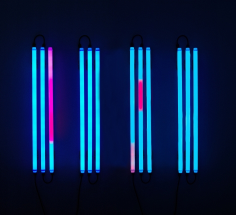 LEO VILLAREAL  Columns 4  (4)  2005, light emitting diodes (LED), circuit board, micro controller, plexiglass tubes, 42 x 72 inches