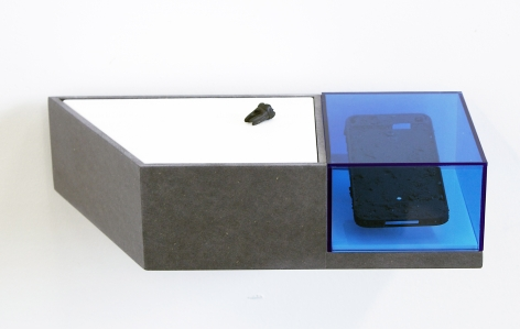BENJAMIN KELLEY  Untitled 01  2019, Valcromat, vinyl, acrylic, panted brass, Iphone chassis and earth, carved ancient bog oak (human tooth).