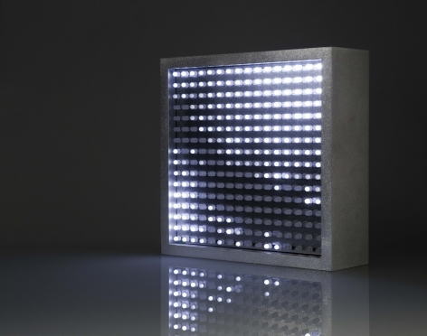Leo Villareal  Bulbox 3.0  2004, light emitting diodes (LED), microcontroller, aluminum, 9 x 9 x 3.