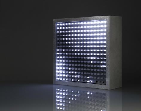 Leo Villareal  Bulbox 3.0  2004, light emitting diodes (LED), microcontroller, aluminum, 9 x 9 x 3.