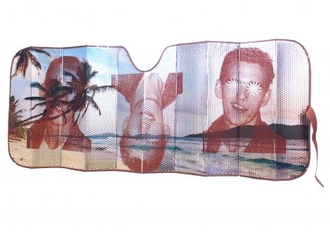 CHRIS WILLIFORD  Sunshade II (Honeymoon)  2015, screenprint and varnish on auto sunshade, 67 x 27 inches.