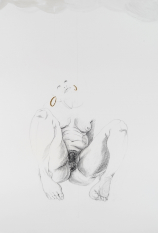 ZOË CHARLTON Cousin 6 (from Tallahassee Lassies) 2008, graphite and gouache on paper, 52 x 72 inches.