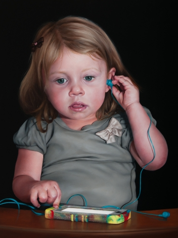 KATIE MILLER Girl with a Silent Phone  2014, oil on panel, 16 x 12 inches.