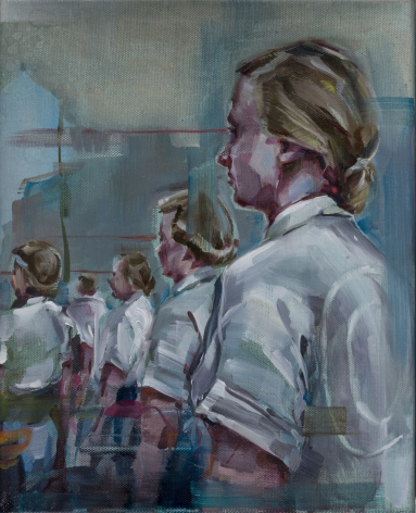 JUSTINE OTTO  Seherinnen  2015, oil on linen, 12 x 8 inches.