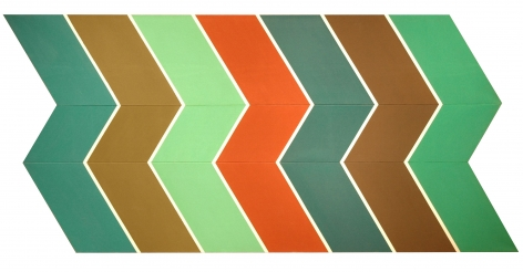 Thomas Downing  Rim 5 #3  1967, acrylic on pieced canvas, 55 x 113 inches.