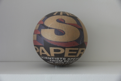 Susan MacWilliam  The ESP Papers  2013-14, inkjet paper, plastic sphere, 6 x 6 x 6 inches, unique.
