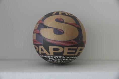 Susan MacWilliam  The ESP Papers  2013-14, inkjet paper, plastic sphere, 6 x 6 x 6 inches, unique.