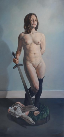ERIK THOR SANDBERG Courage 2006, oil glaze on wood panel, 79 x 38 x 3.5 inches.