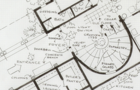 MARK BENNETT Home of Norma Desmond (Sunset Boulevard) (detail) 2007, India ink and graphite on vellum, 30 x 42 inches.