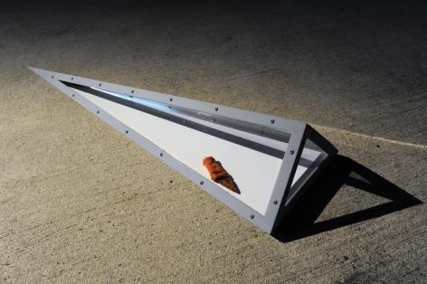 BENJAMIN KELLEY Peripheral Stem Sludge 2013, steel, paint, lights, plastic, prison shank, dimensions variable