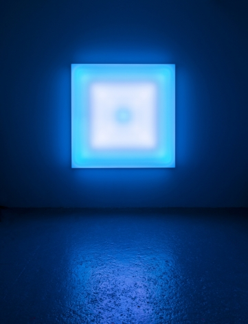 LEO VILLAREAL Scramble 2011, light emitting diodes, mac mini, custom software, circuitry, wood, plexiglas, 60 x 60 x 7 inches