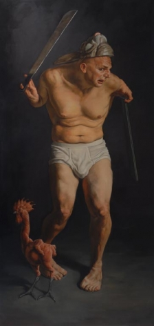 ERIK THOR SANDBERG Cowardice 2006, oil glaze on wood panel, 79 x 38 x 3.5 inches.