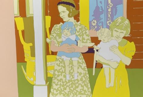 "LISA RUYTER Ben Shahn ""Daughters of Mr. Thaxton, near Mechanicsburg, Ohio"" 2011, acrylic on canvas, 59 x 87 inches"
