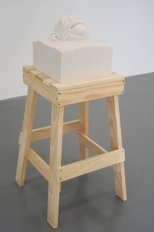 KENNY HUNTER Yield Brother 2009, jesmonite, sculptors table, 51.18 x 23.62 x 23.62 inches.
