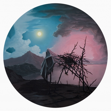 JOHN STARK The Fall 2010, oil on panel, 20 inches (diameter)