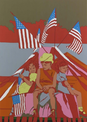 "LISA RUYTER Russell Lee ""Children on float in Fourth of July parade. Vale, Oregon"" 2011, acrylic on canvas, 83 x 59 inches"