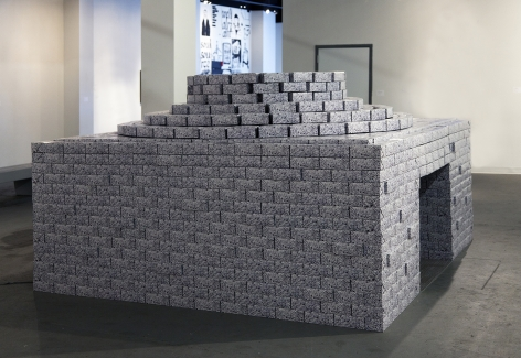 NARA PARK It Was Written On the Wall 2012, paper boxes, vinyl flooring, synthetic plant, vent, 113 x 108 x 71 inches