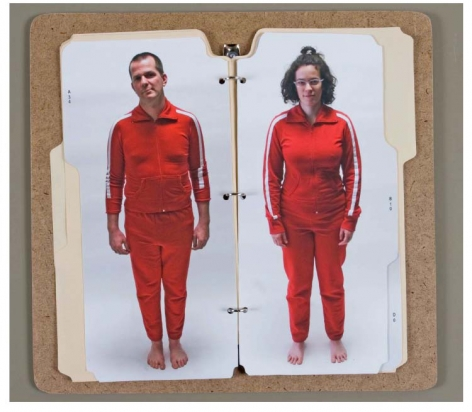 SARADA CONAWAY suit study 2007-08, cork, folders and digital photographs, 14 x 15 inches.
