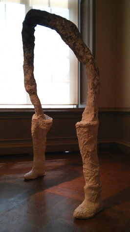 "HELENA CERVANTES  Dissolve  2015, plaster, wire, pvc pipes, wood, burlap, string, body casts, 5'9"" x 5'4""."